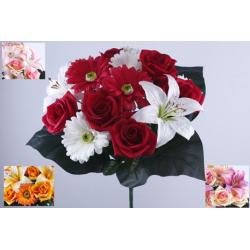 Bouquet 18 branches Rose, gerbera, lys tigré Ass. H41 cm par 12