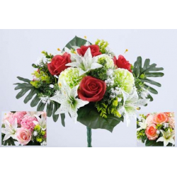 Bouquet 24 branches Rose, Lys, Zinnia Ass. H50 cm Par 6