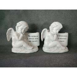ANGEL - Ange assis Résine Blanc L12 x P12 x H17,5 cm par 2