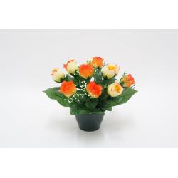 Pot Rose, gypso / Gerbera, rose orchidée Ass. H28 x D32 par 6