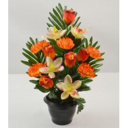 Pot Lys, orchidée, œillet / Rose, chrysanthème H43 x D31 par 6