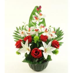 Vasque Rose, lys, orchidée, chardon H40 x D35 cm par 3