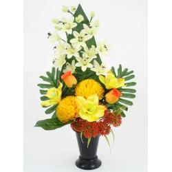 Cône Rose, anthurium, lys /Chrysanthème, orchidée H58 x D40 cm par 4