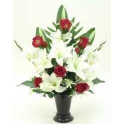 Cône d'orchidée, glaïeul / lys, bouton de rose, palme H60 x D43 cm par 4
