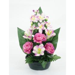 Jardinière rose, lys, gypso/ Orchidée, alstroméria, rose H42 x L34 cm