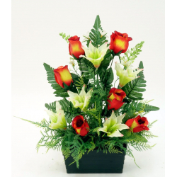 Jardinière Rose, orchidée, lys / Lys, rose, fougère H45 x L43 cm par 6