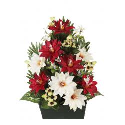 Jardinière Clématite, pensée, mini fleurs H53 x L50 cm par 4