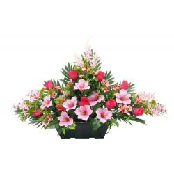 Jardinière Rose, alstroméria, pensée,fleurs Ass. H50 x L85 par 5