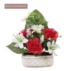 Jardinière Ciment Oeillet, lys, fleurs / Rose, orchidée H30 x L26  pa