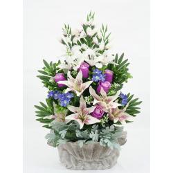 Ciment Bouton de rose, lys tigré, glaïeul, gypso Violet H60 x L45 cm