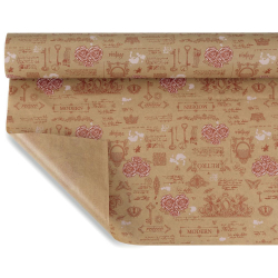 ANTIQUE  - Papier Kraft Naturel Motifs Rose 0,80 x 40 m