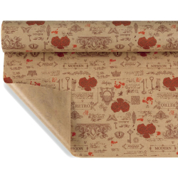 ANTIQUE  - Papier Kraft Naturel Motifs Rouge 0,80 x 40 m