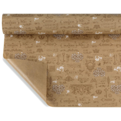 ANTIQUE  - Papier Kraft Naturel Motifs Blanc 0,80 x 40 m