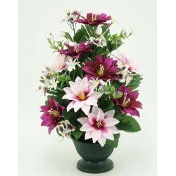 Vasque sur pied Clématite, mini fleurs, pensée H54 x D38 par 3