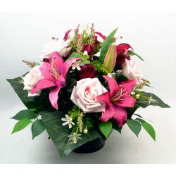 Vasque Rose, bouton de rose, lys tigré, gypso, ficus H36 x D52