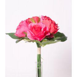 Bouquet 5 fleurs 3 feuilles Pivoine H29 cm