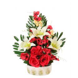 Jardinière ciment de lys, rose, pensée, mini fleurs H54 x L43 cm par  4