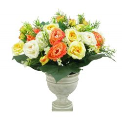 Vase Ciment Rose, mini fleurs Orange H53 x D57 cm