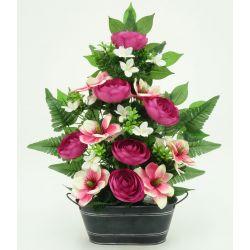 Jardinière Zinc Rrenoncule, magnolia, lys, ficus H58 x L42 par 3