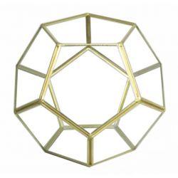 DIAMOND - Terrarium Verre & Fer Or D18 x 18 x H15 cm