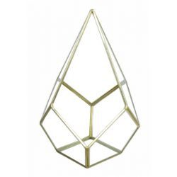 DIAMOND - Terrarium Verre & Fer Or D18 x 18 x H26 cm