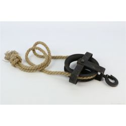 PULLEY - Poulie Déco Fer et corde Noir D16 x H26 cm