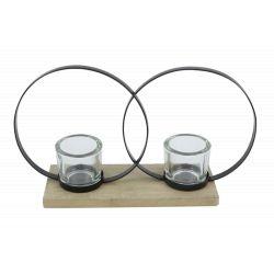 ROUND - 2 Pots Verre Support cercle Fer Bois L24 x P9.7 x H19.5 cm
