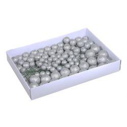 GLITTERBALL - Piques boules scintillantes Plastique Argent D2/3/4 cm