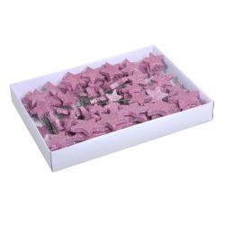 ETOILE - Piques étoiles scintillantes Plastique Rose blush D4/5/7 cm