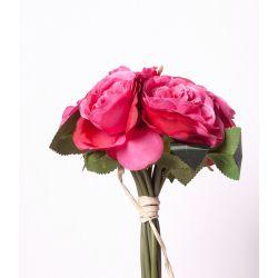 Bouquet de roses 8 fleurs 3 feuilles H25 cm