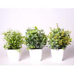 TREE - Arbuste plastiques avec pot H23 cm par 3 vert/jaune