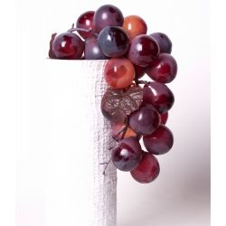 Grappe de raisin artificiel + Feuille plastique H25cm coloris assortis par 3
