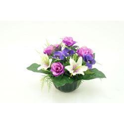 Vasque Oeillet, rose, fougère / Rose, pensée, lys H27 x D40 par 3