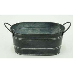 BLACKMAT - Jardinière Zinc Noir mat L24,5 x P13 x H10,5 cm