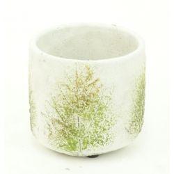 FEUILLE - Pot Ciment Blanc Motifs D12,5 x H13,5 cm