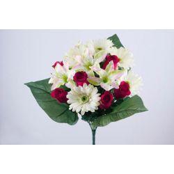 Bouquet Bouton de Rose, Lys, Gerbera Rouge H42 cm