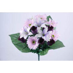 Bouquet Bouton de Rose, Lys , Gerbera Lilas H42 cm