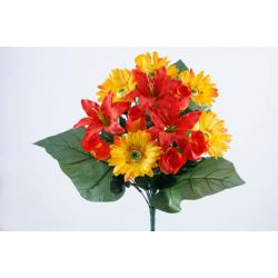 Bouquet Bouton de Rose, Lys, Gerbera Orange H42 cm