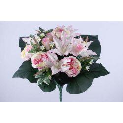 Bouquet Rose, lys tigré, 4 feuilles H40 cm par 6