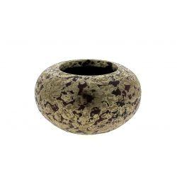 FERRERO - Cache-pot boule Céramique Aubergine patine or D13 x H13 cm