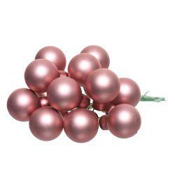 Boule Noël 20mm sur fil Rose mat par 144