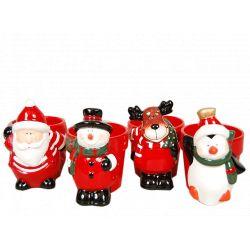 CHRISTMAS- Cache-pots Céramique Rouge Ass. L14,5 x P11 x H14 cm par 4