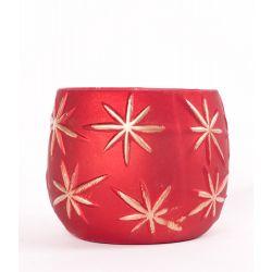 ASTERIA - Coupe Céramique Rouge Etoiles dorées D15 x H8,5 cm