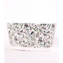 HOLLY - Céramique Blanc Coupe  motifs verdure D12,5 x H10 cm