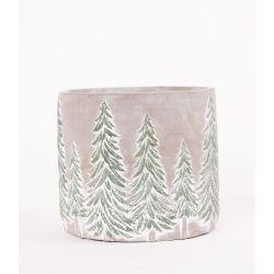 EDVIN - Pot Céramique Blanc motifs sapin D13 x H11,5 cm