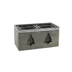 BETO - Cache-pots Bois avec 2 pots en verre L17 x P9 x H8,5 cm