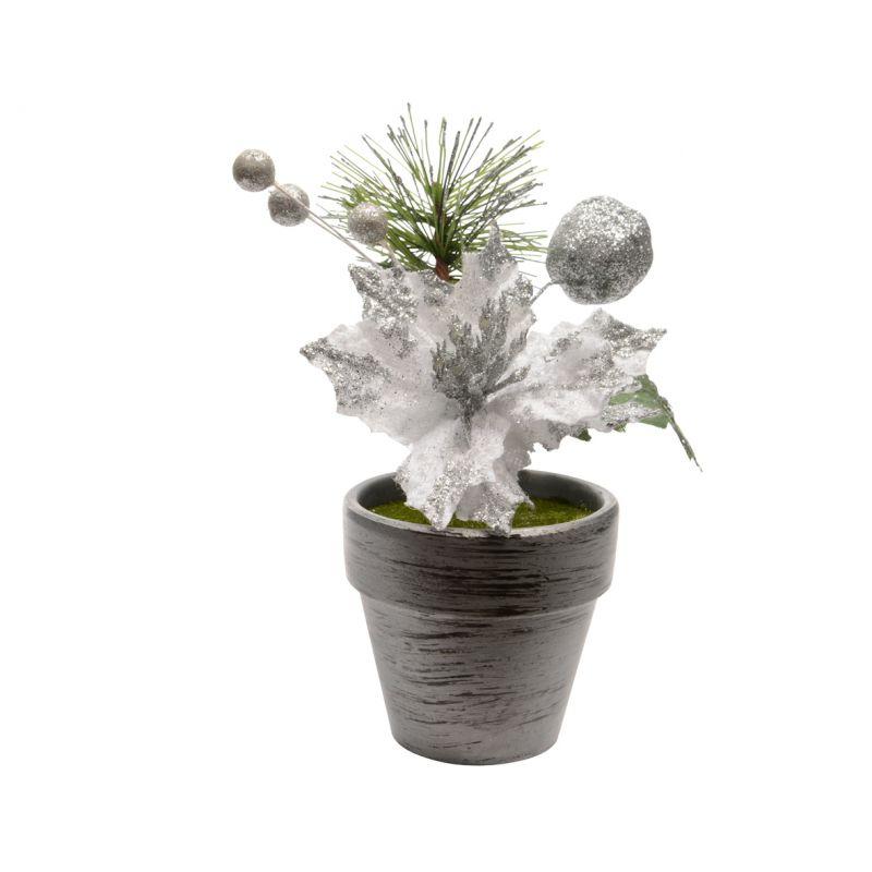 Poinsettia en velours d6.5 h16 cm Argent