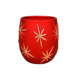 ASTERIA - Céramique Etoiles dorées Rouge Pot  D15 x H12 cm