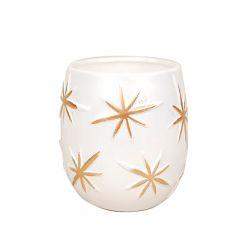 ASTERIA - Céramique Etoiles dorées Blanc Pot D15 x H12 cm