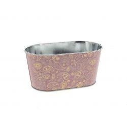 GOLDIE - Jardinière Zinc Rose motifs dorés L19,5 x P11 x H9 cm